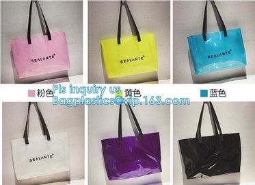 Semi-clear Tote Bags Stripe PVC Shoulder Bag with Pouch, PVC PU Trendy Handbag Shoulder Bag Beach Bag, PVC shoulder bag