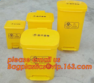 HDPE garbage bin with wheels and lid plastic trash bin, Kitchen accessories Double-bucket pull out garbage trash bin