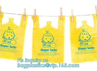 Amazon hot sale scented disposable Nappy sacks bag baby diaper bag, Eco-Friendly Scented Baby sacks tie handle disposal
