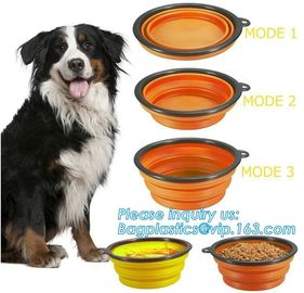 Food Water Feeder Silicone Portable Folding collapsible dog bowl, pocket foldable silicone travel pet food dog bowl, bag
