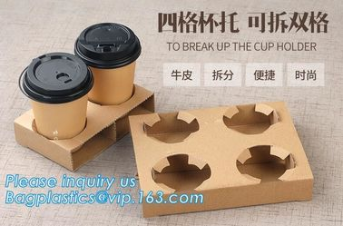 Cardboard paper coffee cup holder carrier,2 pack coffee cup drink paper carriers,Brown paper coffee cup drink carriers w
