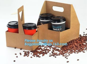 Eco Friendly Disposable Kraft Paper Take Out 2 Pack Coffee Cup Drink Carriers 2 Pack Paper Cup Holders bagease package