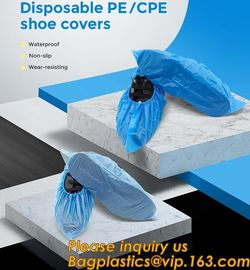 China Safety Products Equipment Indoor Disposable medical plastic shoe covers waterproof PE CPE material,PE material blue shoe factory