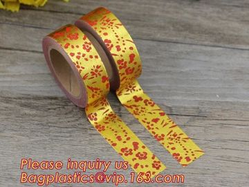 China foil tape custom printed decorative washi foil tape,Assorted Designs Christmas Washi Masking Tape,Logo Printed Gold Foil factory