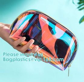 Eco Beauty Holographic Travel Cosmetic Bag,Makeup Bag PVC Holographic Laser Clear Transparent Women Cosmetic Bag handy