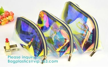 Holographic Color Bag Neon Bag Clear Pvc Cosmetic Make Up Bag in Rainbow,holographic ziplock bagholographic laser handy
