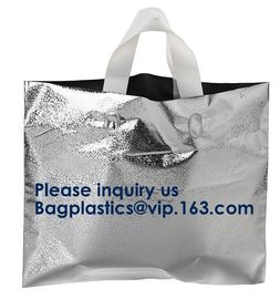 PLA COMPOSTABLE Biodegradable Plastic Trifold Handle Bag For Shopping Market, CLEAR FROSTED SOFT LOOP SHOPPER BAG