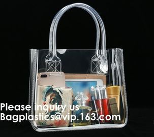 China Thick Clear PVC Handbag With Tube Handles,Cosmetic/ Makeup/ Toiletry Clear PVC Travel Wash Bag with handle, Bagease factory