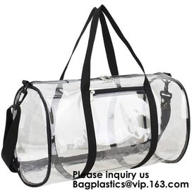 China Clear Duffel Gym Bag Transparent PVC Carry Bag With Shoulder Strap,Cosmetic Carry Bag Magnet Pockets Detachable Shoulder factory