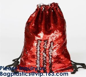 Amazon Hot Sale Magic Mermaid Reversible Sequin Drawstring Bag, Wholesale Polyester Custom LOGO Sequin, Sequins, Paillet