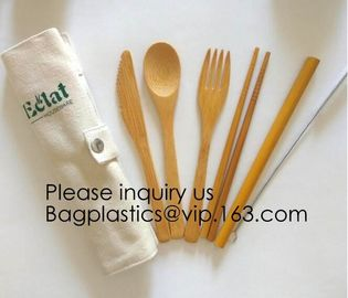 Eco friendly 5 Pieces Fork Knife Spoon Bamboo Disposable Cutlery Set Reusable Bamboo Cutlery Travel Set Bagease pack