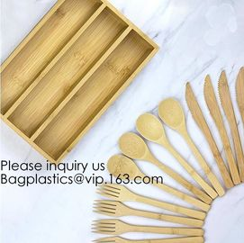 12-Piece Reusable Bamboo Flatware Set with Portable Storage Case,Chopping Board,Cheese Board,Pizza Board,Drawer Organzie