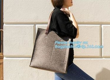 China Felt Laptop Bag With Zipper Pocket Eco Polyester Felt Low Price Tote Bag Handmade Fashion Felt Women Bag factory