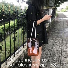 China Cheap Promotional Ecofriendly Reusable Clear Pvc Mesh Tote Reusable Shopping Bag,Shoulder Transparent Shopping Bag pack factory