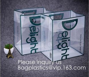 China Custom Design Brand Name Logo Printing Clear Transparent PVC Plastic Shopping Carry Bag with Handle bagease, bagplastics factory