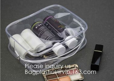 China Clear Travel Toiletry Bag PVC Waterproof Cosmetic Makeup Bags Organizer With Handle See Through Plastic Clear Case factory