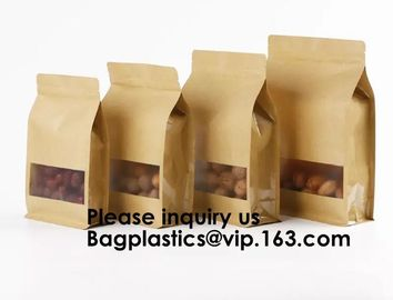 China Kraft Bags With Window, Resealable Large Kraft Ziplock Food Storage Bags,Storing Food,Nuts,Seeds,Beans,Tea Leaves, Coffe factory