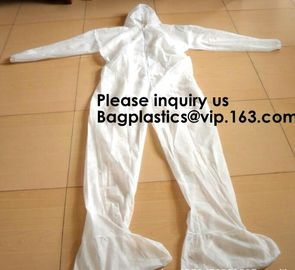 China Light Duty Disposable Protective Coveralls Suit Attached Non-Woven Fabric Hood Elastic Wrist Ankles and Waist Serged Sea factory