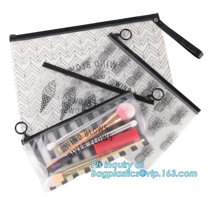 EVA zipper bag with zipper or slider for bra, slider zip lock black zip lock bag, durable mini plastic custom size water