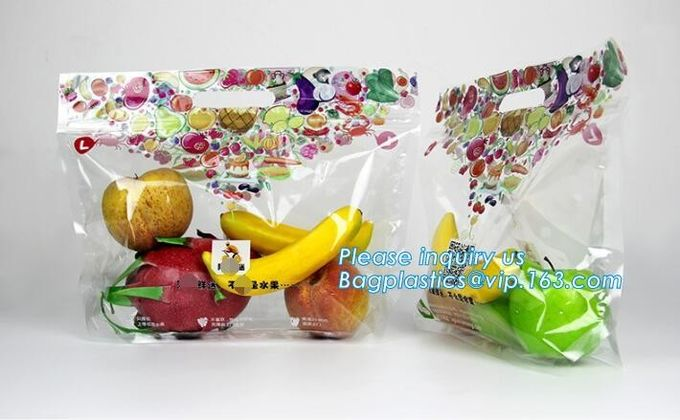 Fruit Grape Cherry Vegetable Packing Protection Bag, handle standing resealable zipper protection fresh vegetable fruit