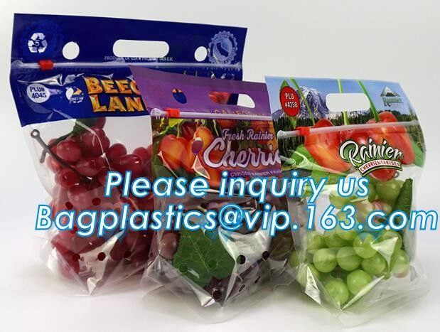 reusable clear printed zippered storage slider bag for vegetables and fruits, recyclable fresh fruit packaging ziplock w