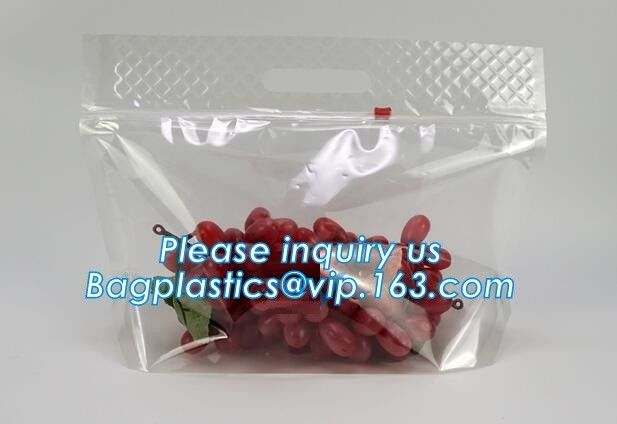 frosted reclosable zipper plastic bags with slider ziplock, round bottom slider grape bag/table grape bag used in graper