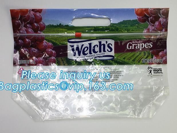 packing bag ziploc slider storage bags with white block, Perforated Standup Bags for Fresh Fruit with Cheap Price, zippe