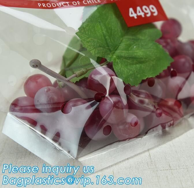 fruit bag with holes sandwich slider zip deli bag, slider zip bag for fresh fruit packaging, grape bag with hole/ slider