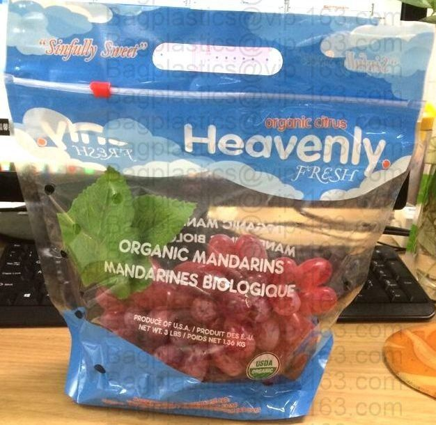 breathable opp cellophane plastic fresh vegetables packaging bag, vegetable fresh keeping freezer bag, reusable zipper s