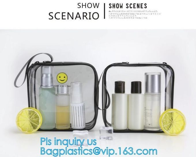 Clear Carry On Travel Toiletry Bag PVC Travel Cosmetic Makeup Bag, Outdoor travel solid durable transparent PVC zipper b