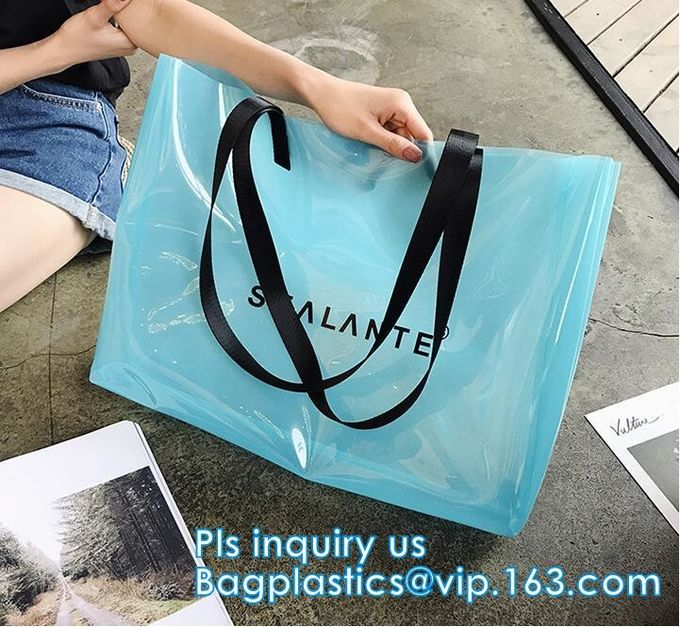 Plastic Waterproof Beach Bag, satchel handbag with a purse for women, Pockets And Zipper See Through PVC Tote Bag, carry