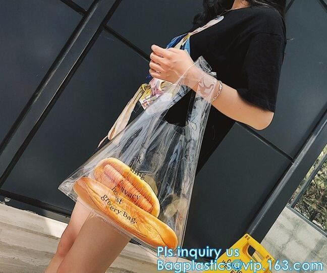 Zipper Clear Stadium PVC Shopping Tote Bag With Side Pocket, promotional shiny vinyl pvc shopping tote bag, 600D PVC Pol