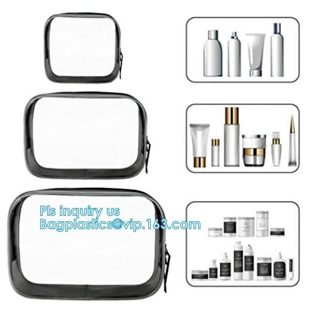 cusotm logo rope handle clear pvc bag with zipper, handle transparent cosmetic bag, Ziplock Make Up Travel Bag, Organize