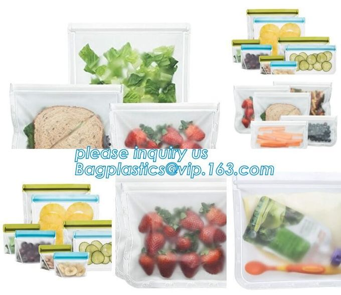 Matte Clear Bags Zip Lock Resealable Packing Grain Food Pouches, Reusable Sealing Food Pouches With Window For Storing C