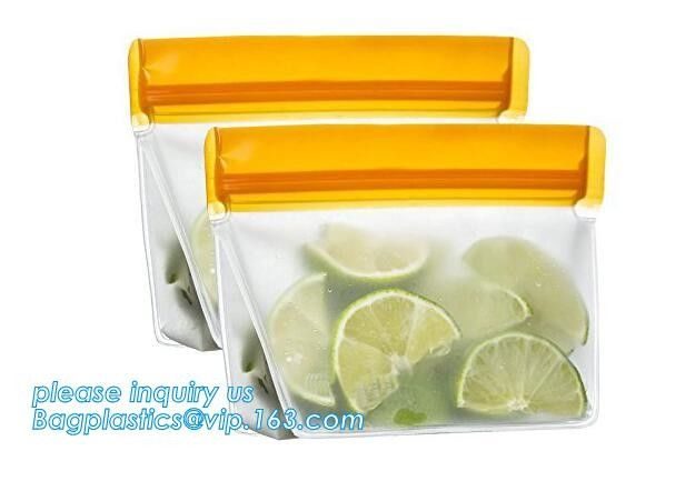 Reusable BPA Free Food Grade Preservation Storage Silicone Food Fresh Bag,Silicone Plastic Packaging Food Zip Silicon Fr