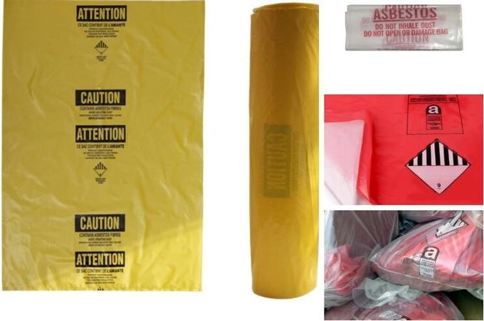 Asbestos Removal, disposable plastic yellow poly asbestos warning printed burial bags, Asbestos clear plastic packing ju