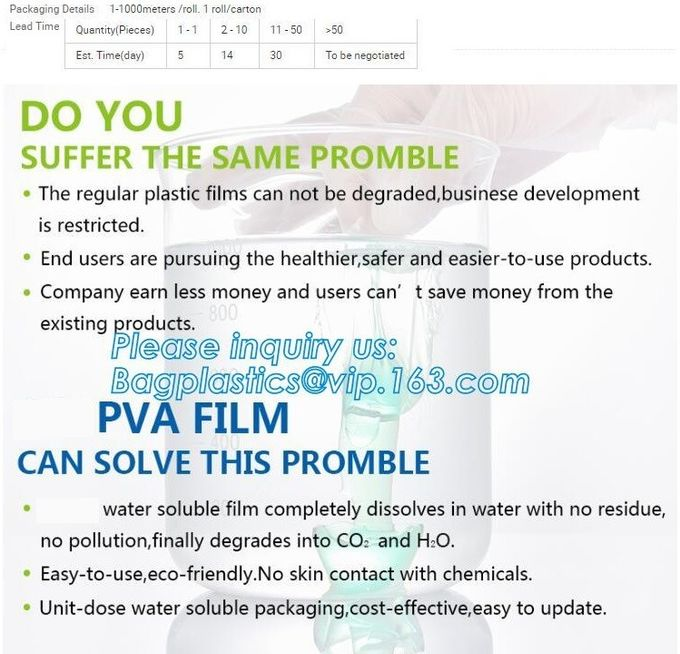 hot and cold water dissolving paper 40gsm PVA water soluble film, PVA cold water soluble film/PVA film, easy to peel,str