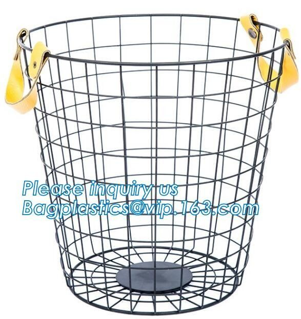 decorative laundry metal wire material storage basket, Vintage Metal Chicken Wire Removable Fabric Hanging Storage Baske