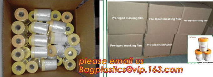 Disposable PE pre-taped self static cling masking film, Cover mask plastic drop film PE protection film with tape, BAGEA