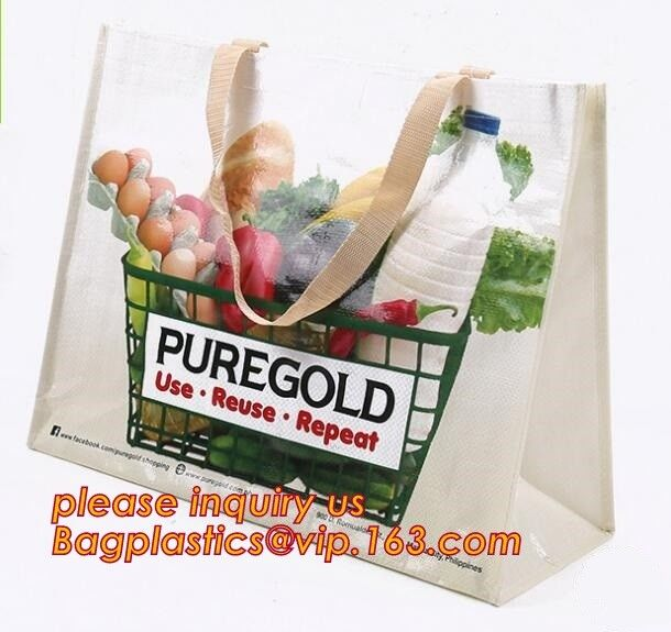 Custom Logo Printed Eco Friendly Tote Shopping Carry Fabric PP Laminated Recyclable Non Woven Bag,supermarket grocery re