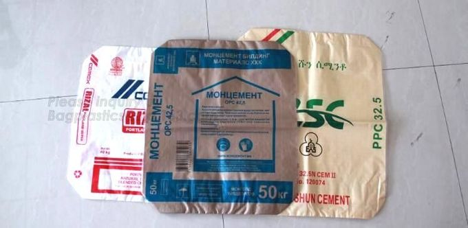 20kg pp woven laminated white LDPE/HDPE inner Paper kraft single line bottom pp woven bag,Kraft Paper Three Composite Ne