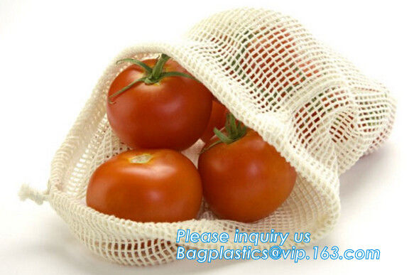 Recycled grocery shopping fruit reusable produce bag organic cotton mesh bag,100% Certified Organic Cotton Reusable Mesh