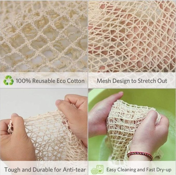 Recyclable Laundry Wholesale Cotton Mesh Bag,Reusable Solid Shopping Bag String Grocery Bag Shopper Cotton Tote Mesh Net
