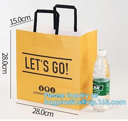 Promotion Recycled Custom Printed Grocery Food Take Away Shopping Brown Kraft Paper Bag With Twisted Handles, bagease