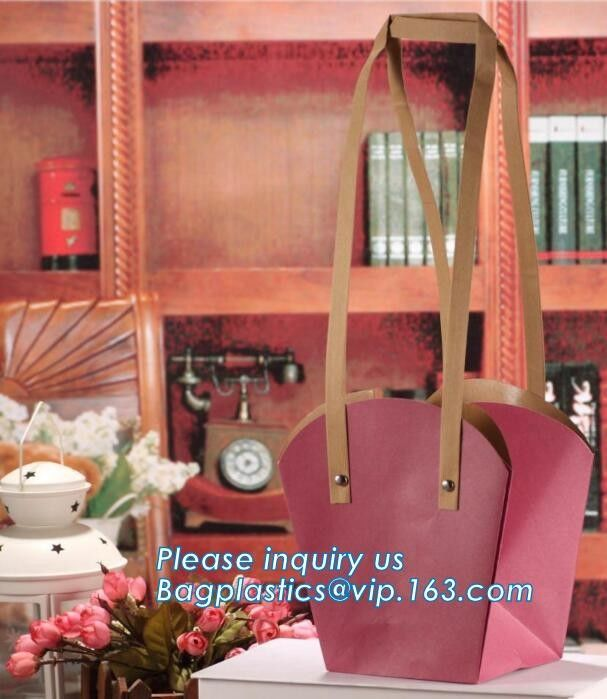 flower carrier bag cheap brown paper flower bag handle bag,Portable Bouquet Flower Carrier Gift Packing Paper Bag bageas