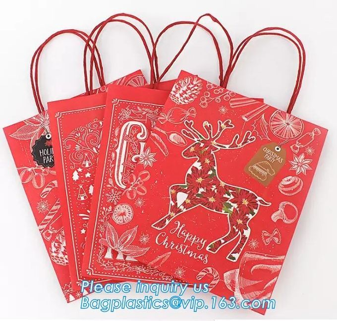 Custom paper gift shopping bag with handle,High quality Kraft Paper brown shopping bags with handles bagease package