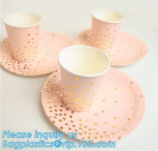 Party supplies, custom printing table rose gold paper biodegradable dinner disposable plate,Compostable Eco Friendly Env