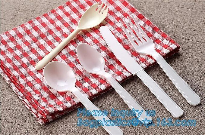disposable 7 inch PP plastic spoon and fork knife factory,Biodegradable disposable cutlery plastic PLA cutlery bagease