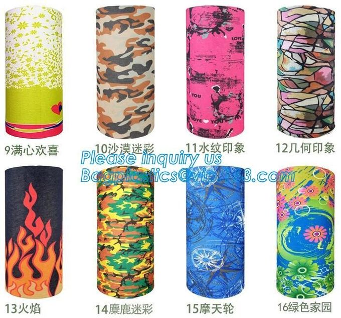 custom made digital sublimation polyester colorfast printed bandana,custom headwear printed seamless neck tube polyester