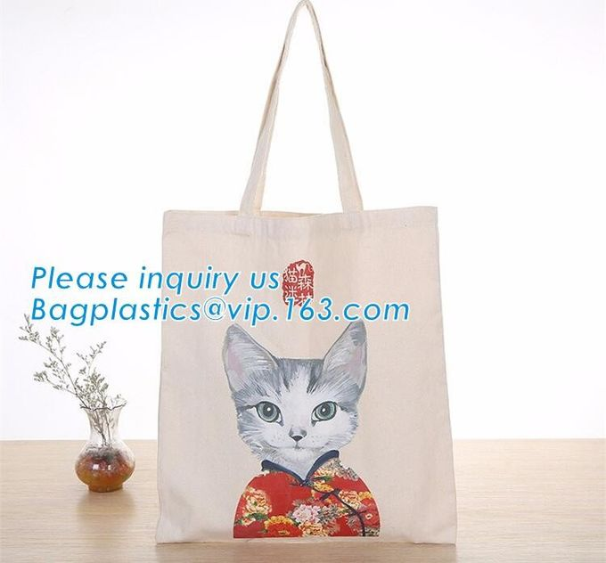 Fashionable promotional natural cotton fabric handle shopping bag,Promotional women lady rope handle cotton canvas chevr